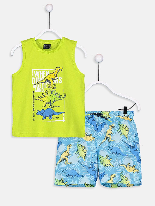 Turkuaz Erkek Çocuk Baskılı Yüzme Takım 9S5889Z4 LC Waikiki