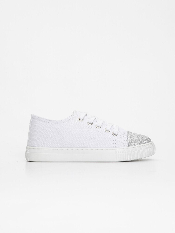 Beyaz Kız Çocuk Bağcıklı Sneaker Ayakkabı 9S6144Z4 LC Waikiki