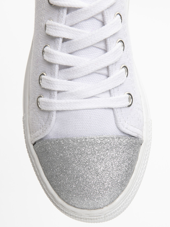 LC Waikiki Beyaz Kız Çocuk Bağcıklı Sneaker Ayakkabı