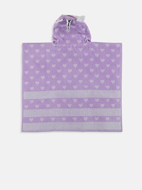%100 Pamuk Baskılı Bornoz Kapşon Yaka Kız Çocuk Unicorn Desenli Panço Haavlu
