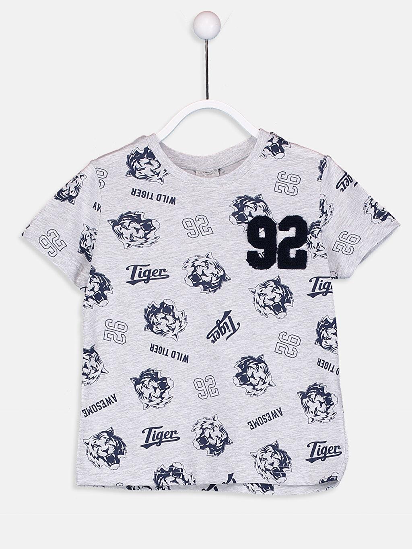 Lacivert Erkek Çocuk Baskılı Tişört 9S6368Z4 LC Waikiki