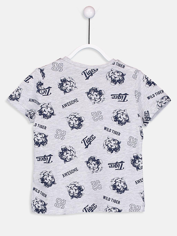 %57 Pamuk %43 Polyester Baskılı Normal Bisiklet Yaka Tişört Erkek Çocuk Baskılı Tişört