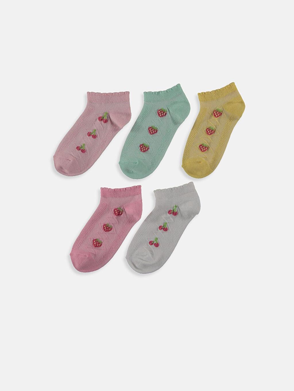 %77 Pamuk %21 Poliamid %2 Elastan  Kız Çocuk Patik Çorap 5'li