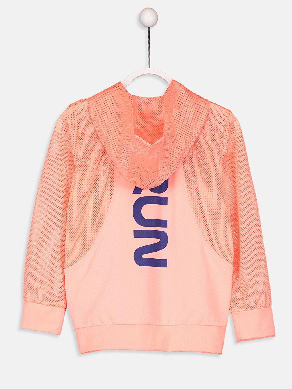 %90 Polyester %10 Elastan  Kız Çocuk Fermuarlı Kapüşonlu Sweatshirt