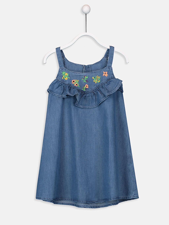 İndigo Kız Çocuk Fırfır ve Nakışlı Jean Elbise 9S7998Z4 LC Waikiki