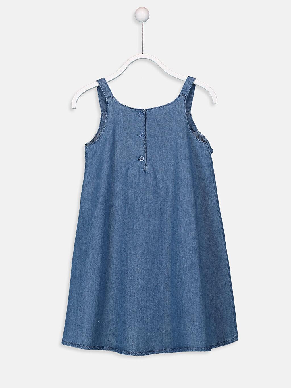 %100 Pamuk Diz Üstü Desenli Kız Çocuk Fırfır ve Nakışlı Jean Elbise