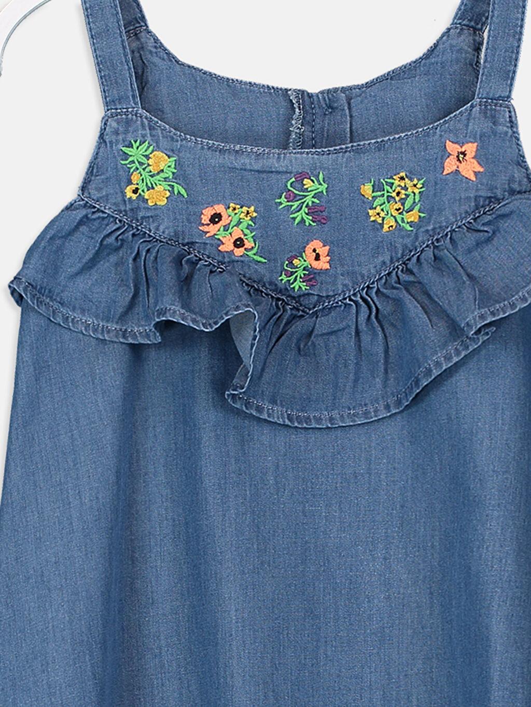 Kız Çocuk Kız Çocuk Fırfır ve Nakışlı Jean Elbise