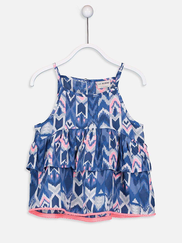 Lacivert Kız Çocuk Volanlı Viskon Bluz 9S8185Z4 LC Waikiki