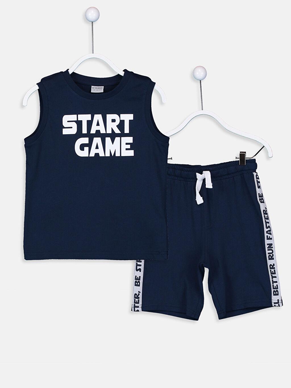 Lacivert Erkek Çocuk Pamuklu Atlet ve Şort 9S8275Z4 LC Waikiki