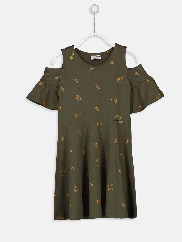Haki Kız Çocuk Omuzu Açık Pamuklu Örme Elbise 9S8372Z4 LC Waikiki