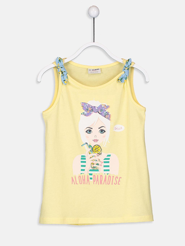 Sarı Kız Çocuk Pul İşlemeli Baskılı Atlet 9S8470Z4 LC Waikiki
