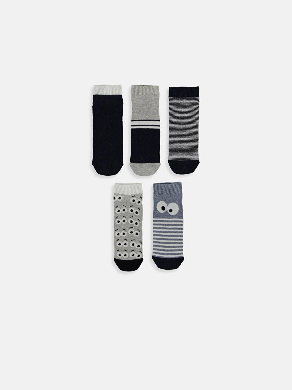 %76 Pamuk %4 Polyester %18 Poliamid %2 Elastan  Erkek Çocuk Patik Çorap 5'li