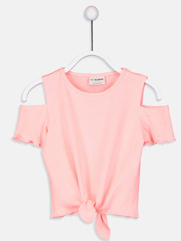 Mercan Kız Çocuk Omuzu Açık Tişört 9S9190Z4 LC Waikiki