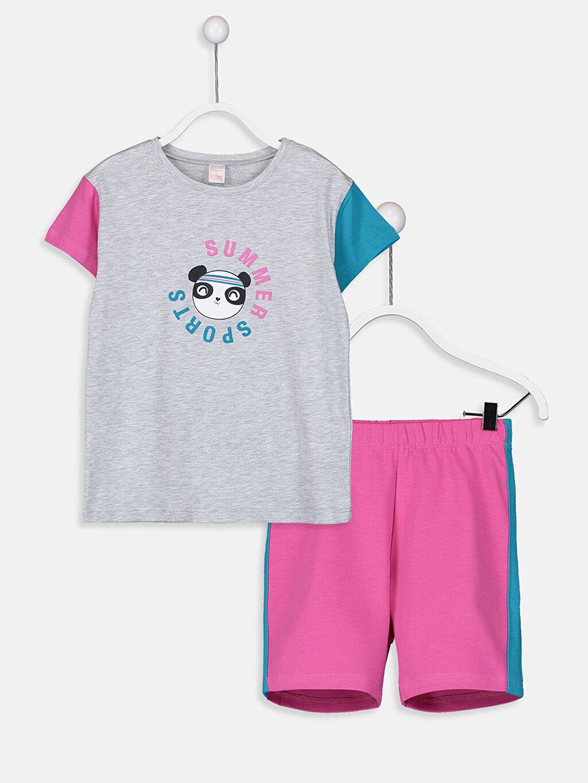 Gri Kız Çocuk Baskılı Pijama Takımı 9SG947Z4 LC Waikiki