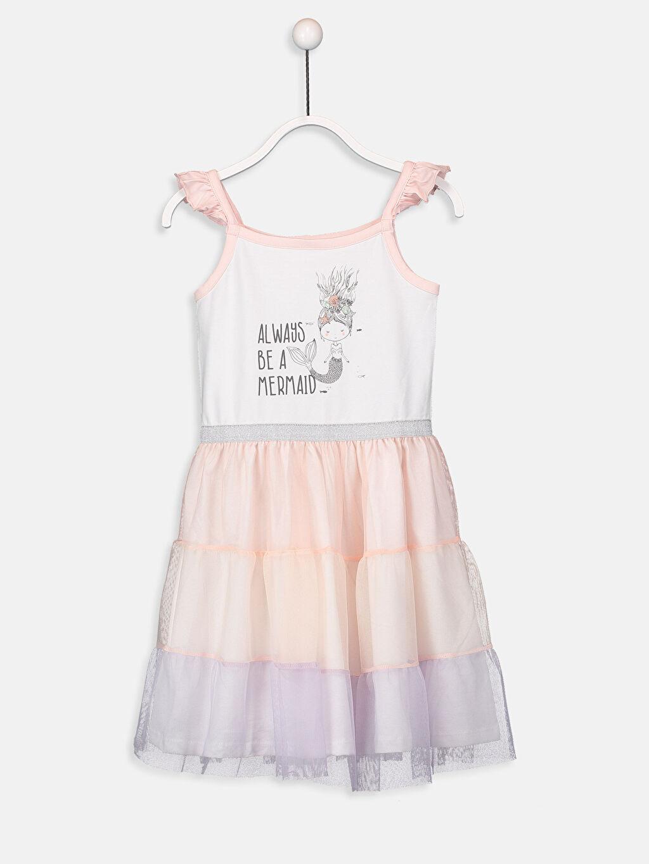 Beyaz Kız Çocuk Baskılı Pamuklu Elbise 9SG952Z4 LC Waikiki