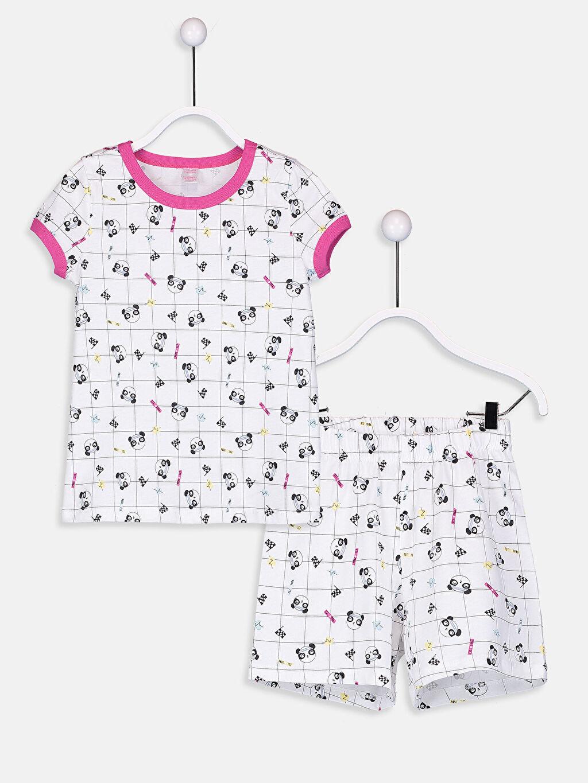 Beyaz Kız Çocuk Baskılı Pamuklu Pijama Takımı 9SG954Z4 LC Waikiki