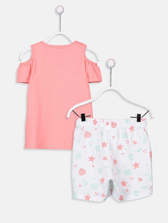 %100 Pamuk Standart Pijamalar Kız Çocuk Omuzu Açık Pamuklu Pijama Takımı