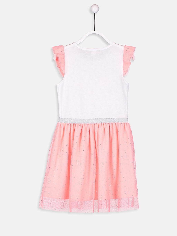 %100 Pamuk %51 Pamuk %49 Polyester Diz Üstü Desenli Kız Çocuk Baskılı Pamuklu Elbise