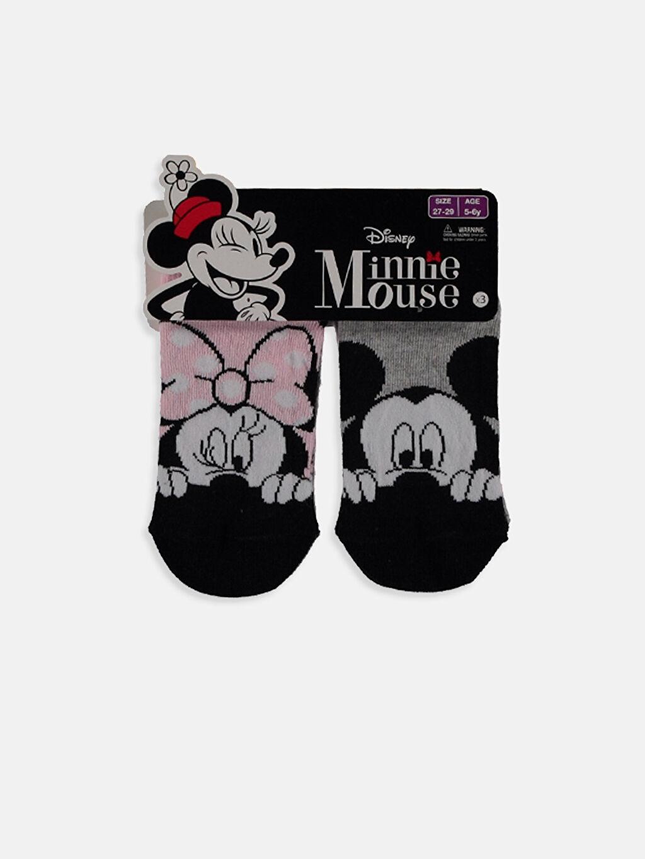 Pembe Kız Çocuk Minnie Mickey Mouse Desenli Patik Çorap 3'lü 9SH166Z4 LC Waikiki