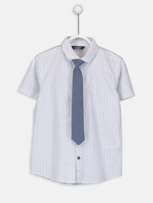 Beyaz Erkek Çocuk Desenli Poplin Gömlek ve Kravat 9SI279Z4 LC Waikiki