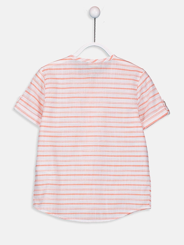 %100 Pamuk Standart Kısa Kol Çizgili Erkek Çocuk Çizgili Poplin Gömlek
