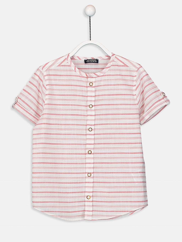 Pembe Erkek Çocuk Çizgili Poplin Gömlek 9SI300Z4 LC Waikiki