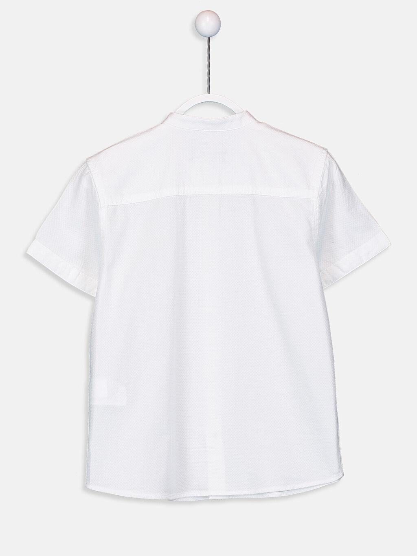 %100 Pamuk Standart Kısa Kol Düz Erkek Çocuk Armürlü Gömlek