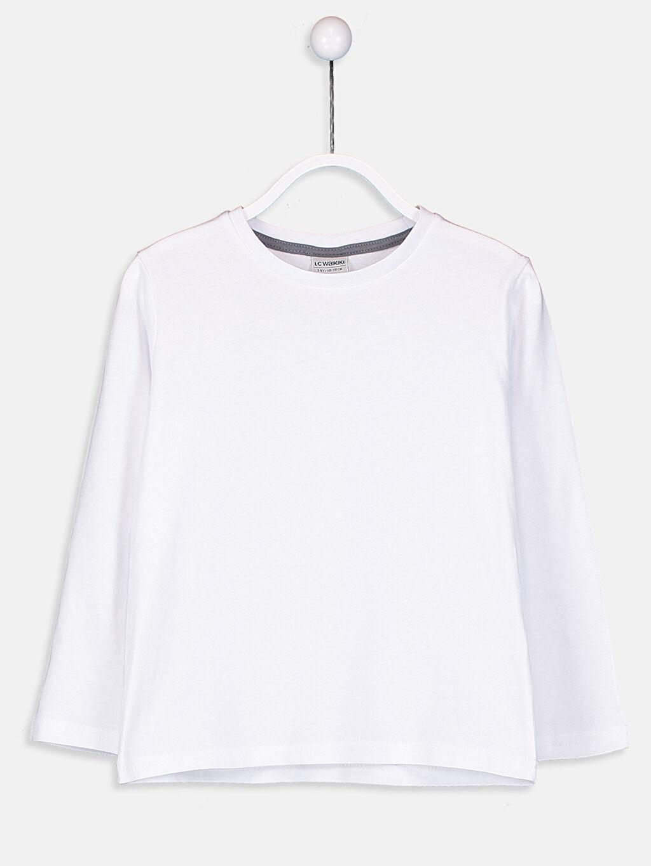 Beyaz Erkek Çocuk Pamuklu Basic Tişört 9SI695Z4 LC Waikiki
