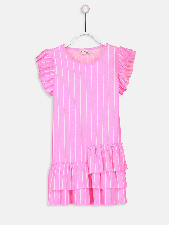 Çok Renkli Kız Çocuk Fırfırlı Pamuklu Elbise 9SK183Z4 LC Waikiki