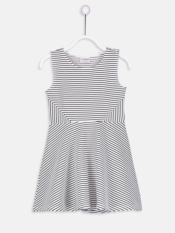 Siyah Kız Çocuk Çizgili Örme Elbise 9SK680Z4 LC Waikiki