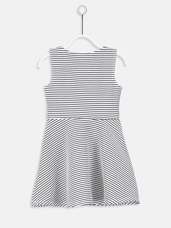 %96 Polyester %4 Elastan Diz Üstü Çizgili Kız Çocuk Çizgili Örme Elbise