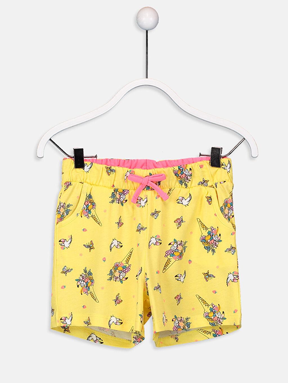 Sarı Kız Çocuk Pamuklu Örme Şort 9SL484Z4 LC Waikiki