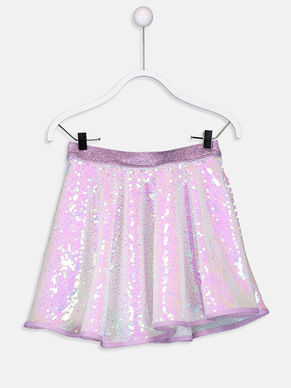 %100 Polyester %100 Polyester Diz Üstü Düz Kız Çocuk Payet İşlemeli Kloş Etek