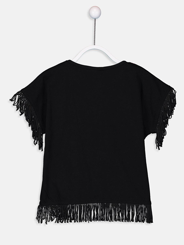%100 Pamuk  Kız Çocuk Püsküllü Pamuklu Tişört