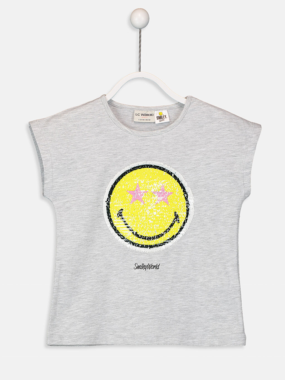 %67 Pamuk %33 Polyester Baskılı Bisiklet Yaka Kısa Kol Standart Tişört Kız Çocuk Çift Yönlü Payetli Tişört