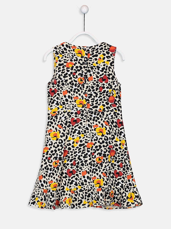 %100 Viskoz Diz Üstü Desenli Kız Çocuk Desenli Viskon Elbise