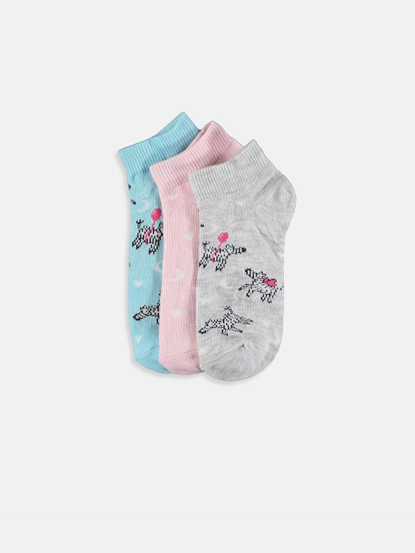 Pembe Kız Çocuk Patik Çorap 3'lü 9SQ972Z4 LC Waikiki