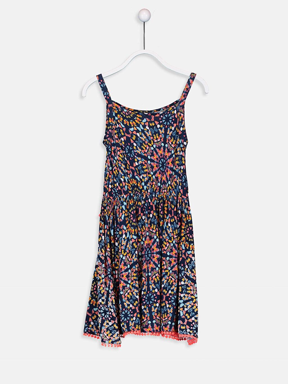 %100 Viskon Diz Üstü Desenli Kız Çocuk Desenli Viskon Elbise
