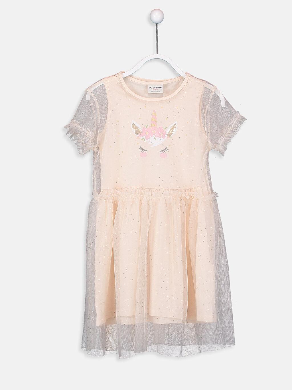 Bej Kız Çocuk Tüllü Elbise ve Taç 9SR474Z4 LC Waikiki