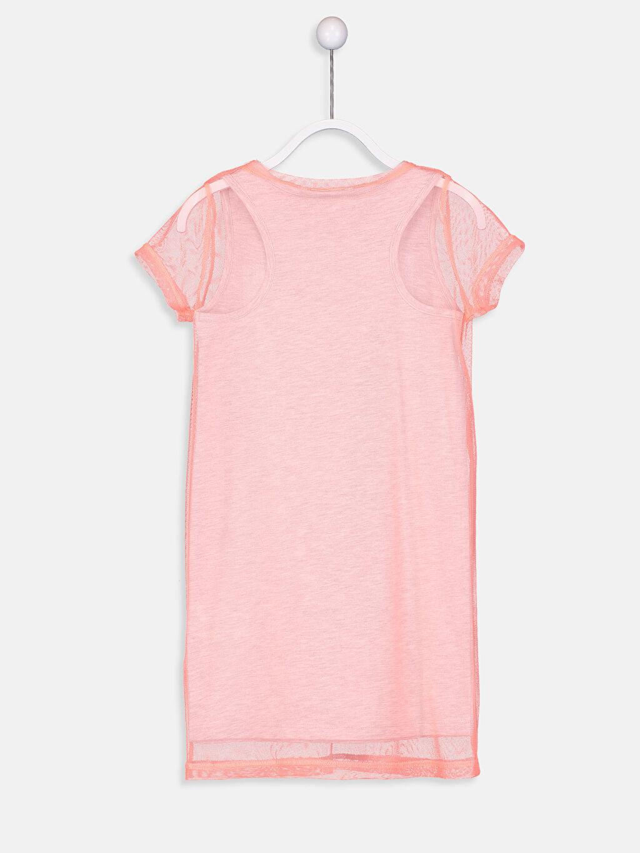 %64 Pamuk %36 Polyester Diz Üstü Düz Kız Çocuk Pul İşlemeli Elbise