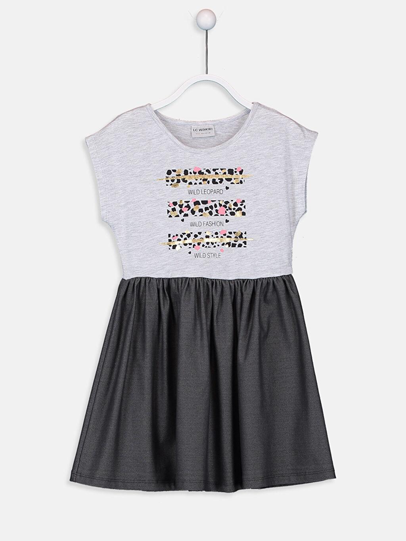 Ekru Kız Çocuk Baskılı Elbise 9ST172Z4 LC Waikiki