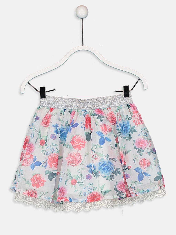 %100 Polyester %26 Pamuk %74 Polyester Diz Üstü Desenli Kız Çocuk Dantel Detaylı Çiçekli Etek