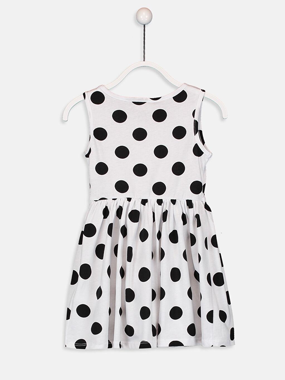 %100 Pamuk Diz Üstü Desenli Kız Çocuk Baskılı Puantiyeli Elbise