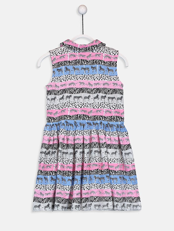 %100 Pamuk Diz Üstü Desenli Kız Çocuk Desenli Pamuklu Elbise