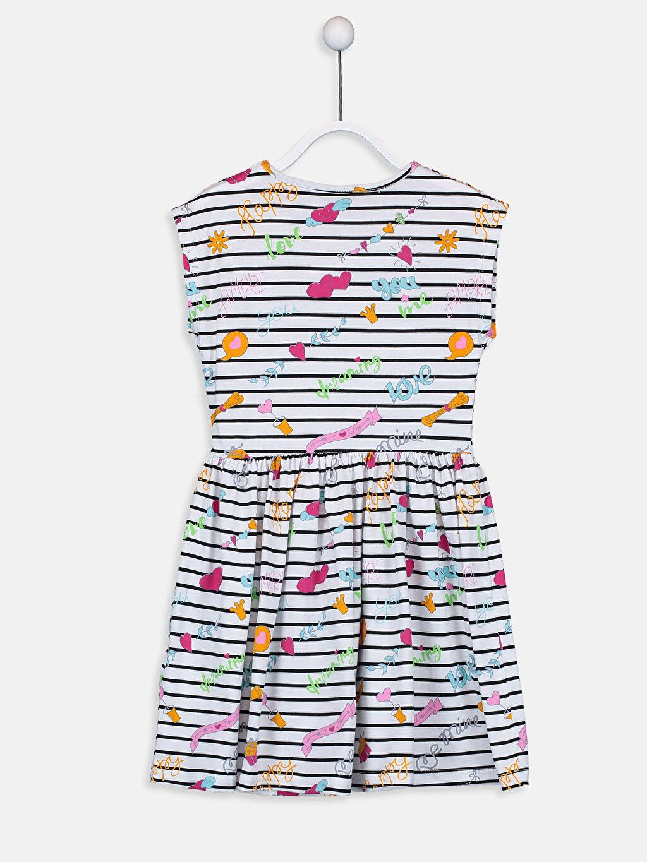%100 Pamuk Diz Üstü Desenli Kız Çocuk Baskılı Pamuklu Elbise