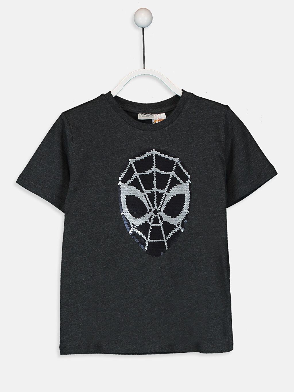 %59 Pamuk %41 Polyester Baskılı Normal Bisiklet Yaka Tişört Kısa Kol Erkek Çocuk Çift Yönlü Payetli Spiderman Tişört