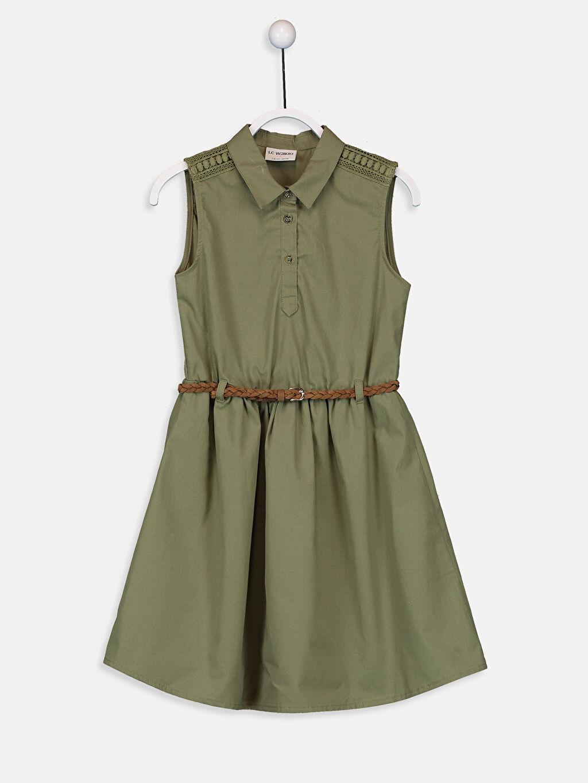 Haki Kız Çocuk Dantel Detaylı Gömlek Elbise ve Kemer 9SU410Z4 LC Waikiki