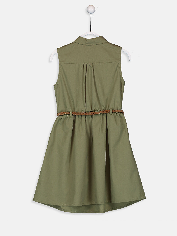 %100 Pamuk %69 Polyester %31 Viskoz Diz Üstü Düz Kız Çocuk Dantel Detaylı Gömlek Elbise ve Kemer