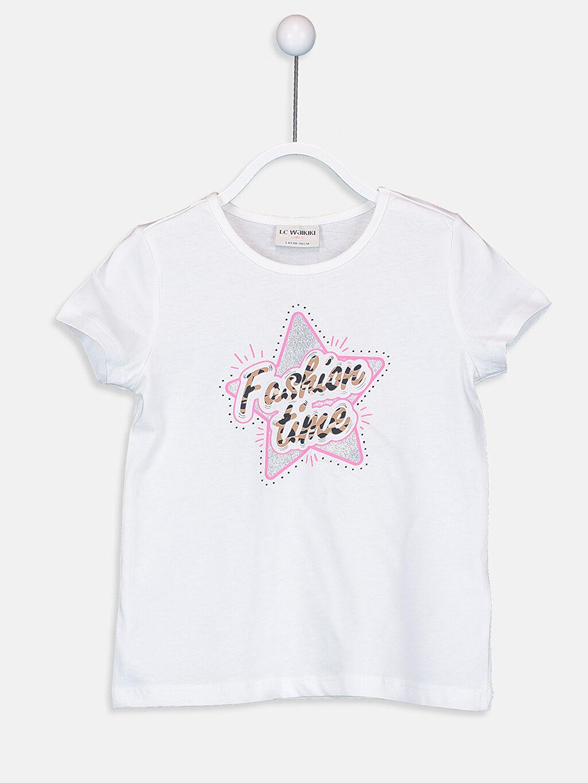 Beyaz Kız Çocuk Baskılı Pamuklu Tişört 9SV123Z4 LC Waikiki
