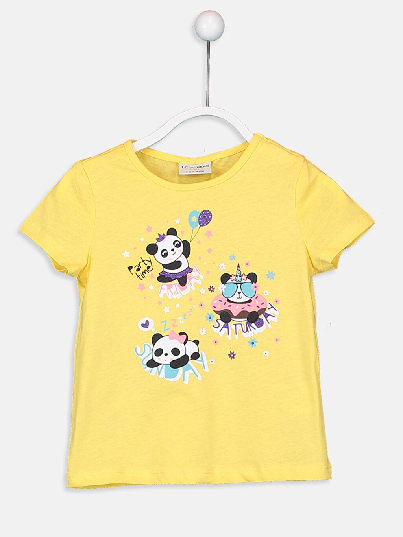 Sarı Kız Çocuk Baskılı Pamuklu Tişört 9SV123Z4 LC Waikiki